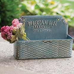 Distressed Blue Flower Market Wall Basket