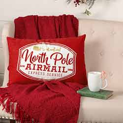 North Pole Airmail Pillow 14x22