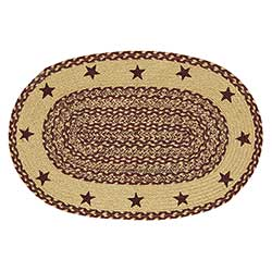 Burgundy and Tan Jute Rug with Stars (20 x 30 inch)