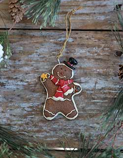 Gingerbread Boy Ornament with Striped Scarf