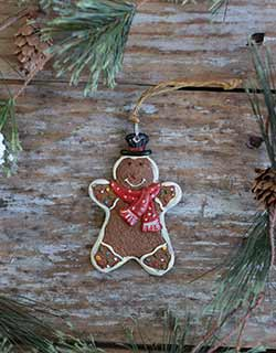 Gingerbread Boy Ornament with Polka Dot Scarf