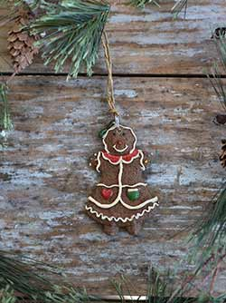 Gingerbread Girl Ornament with Red Collar