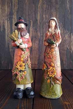 Pilgrim Figurines Thanksgiving Decor (Set of 2)
