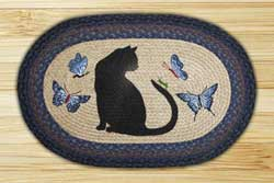Cat with Grasshopper Braided Jute Rug