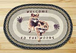 Raccoon Welcome Braided Jute Rug