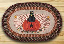 Black Cat Pumpkin Braided Rug