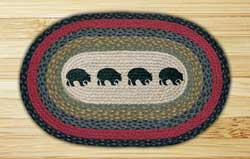 Black Bears Oval Patch Braided Rug