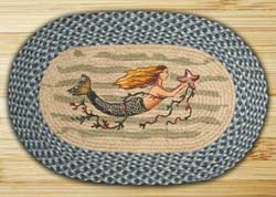 Mermaid Oval Patch Braided Rug