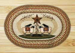 Sheep & Barn Star Braided Jute Rug