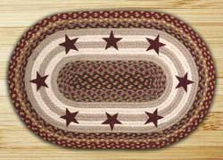 Burgundy Stars Braided Jute Rug - Burgundy, Grey, Creme