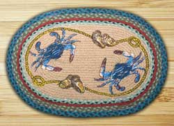 Blue Crab Oval Patch Braided Rug