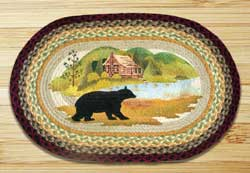 Cabin Bear Oval Patch Braided Rug