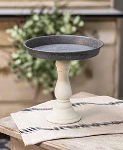 Distressed White Pedestal Candle Tray - 7 inch