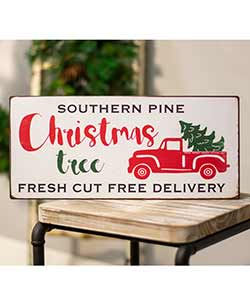 Fresh Cut Trees Enamel Sign
