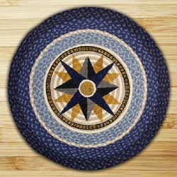 Compass Braided Jute Rug - Round