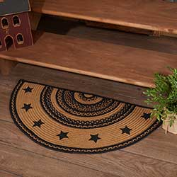 Farmhouse Star Jute Half Moon Rug with Pad