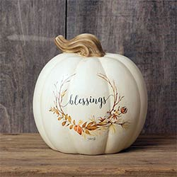 White Blessings Pumpkin with Wreath