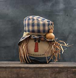 Scarecrow Head with Blue Scarf