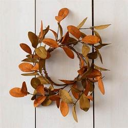 Rust and Tan Fall Leaves Candle Ring