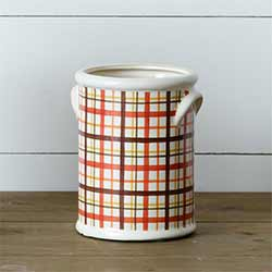 Harvest Plaid Pottery Crock