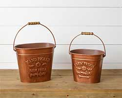 Farm Fresh Pumpkin Copper Buckets (Set of 2)