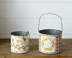 Simply Blessed Metal Buckets (Set of 2)