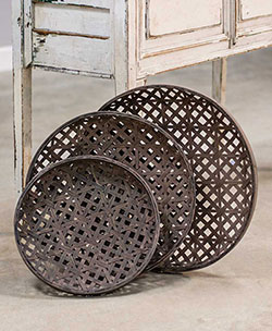 Round Woven Tobacco Baskets (Set of 3)