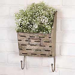 Olive Bucket Wall Caddy with Hooks