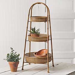 Metal Bamboo Tiered Tray