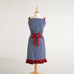 Blue Gingham Check Apron