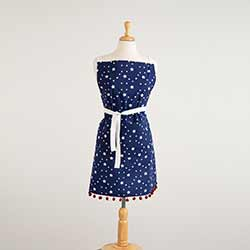 Stars Apron with Pom Pom Trim