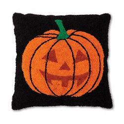 Jack O' Lantern Hooked Throw Pillow
