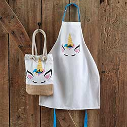 Unicorn Child Apron & Market Bag Set