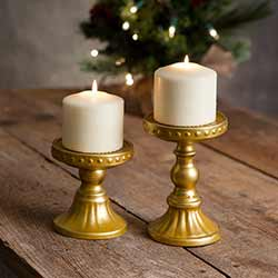 Sommerset Gold Pillar Candle Holders (Set of 2)