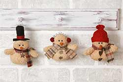 Primitive Plush Snowmen Ornaments (Set of 3)