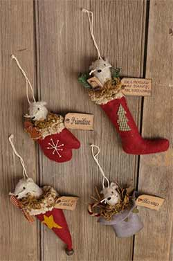 Primitive Mouse Ornaments (Set of 4)