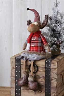 Plaid Sitting Moose Doll