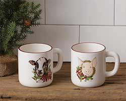 Farmhouse Animal Christmas Mugs (Set of 2)