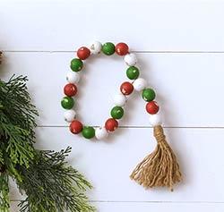 Farmhouse Christmas Beads with Tassel