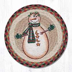 Moon & Star Snowman Braided Tablemat - Round (10 inch)