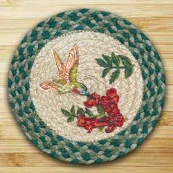 Hummingbird Braided Jute Tablemat - Round (10 inch)