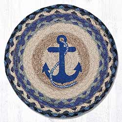Navy Anchor Braided Tablemat - Round (10 inch)