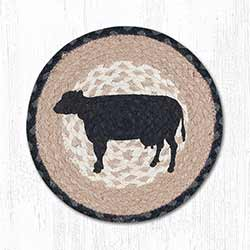 Cow Silhouette Braided Tablemat - Round (10 inch)