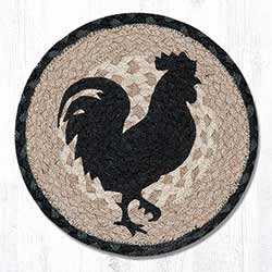 Rooster Silhouette Braided Tablemat - Round (10 inch)