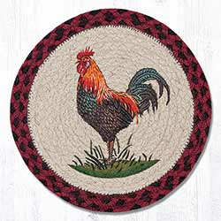 Rustic Rooster Braided Tablemat - Round (10 inch)