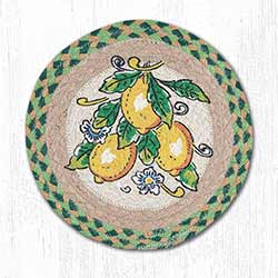Lemons Braided Tablemat - Round (10 inch)