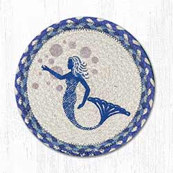 Blue Mermaid Braided Tablemat - Round (10 inch)