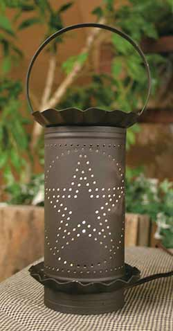 Punched Star Large Wax Warmer - Rustic Brown