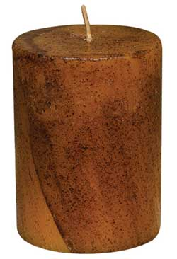 Mustard Primitive Pillar Candle - 3 x 4 inch