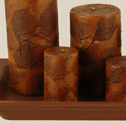 Mustard Primitive Dripped Wax Pillar Candle - 2 x 3 inch